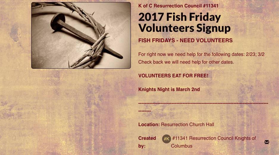 2018 Fish Friday Volunteers Signup